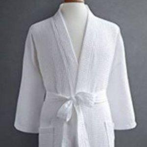Unisex White Waffle Kimono Bath Robes